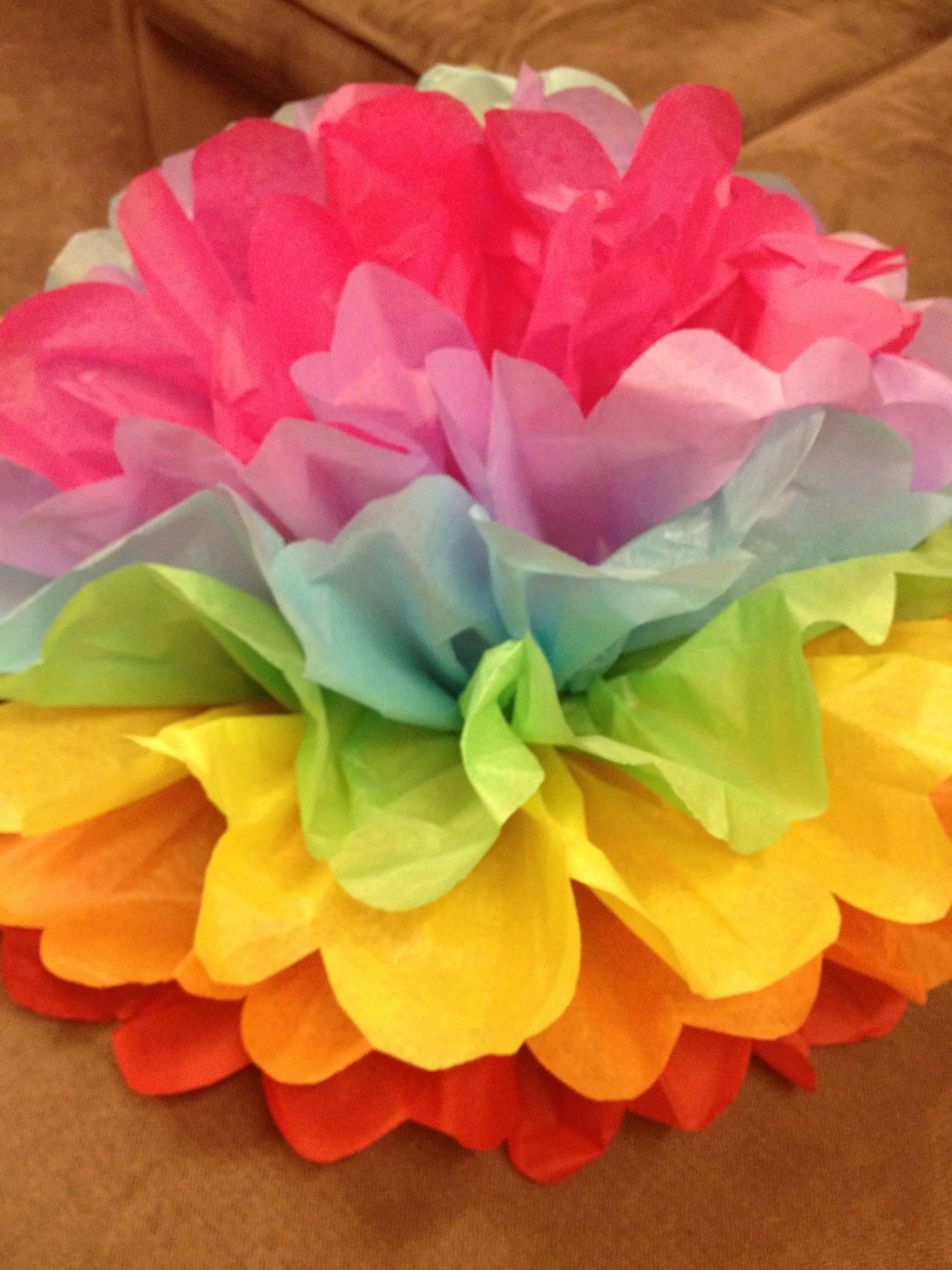 rainbow tissue flower